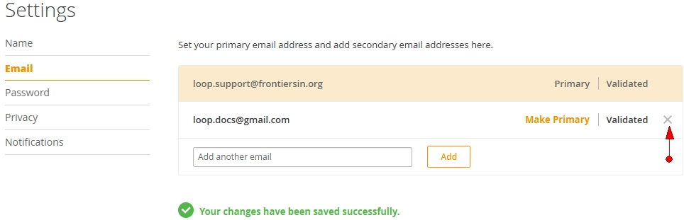 How do I remove my primary or secondary email? – Frontiers