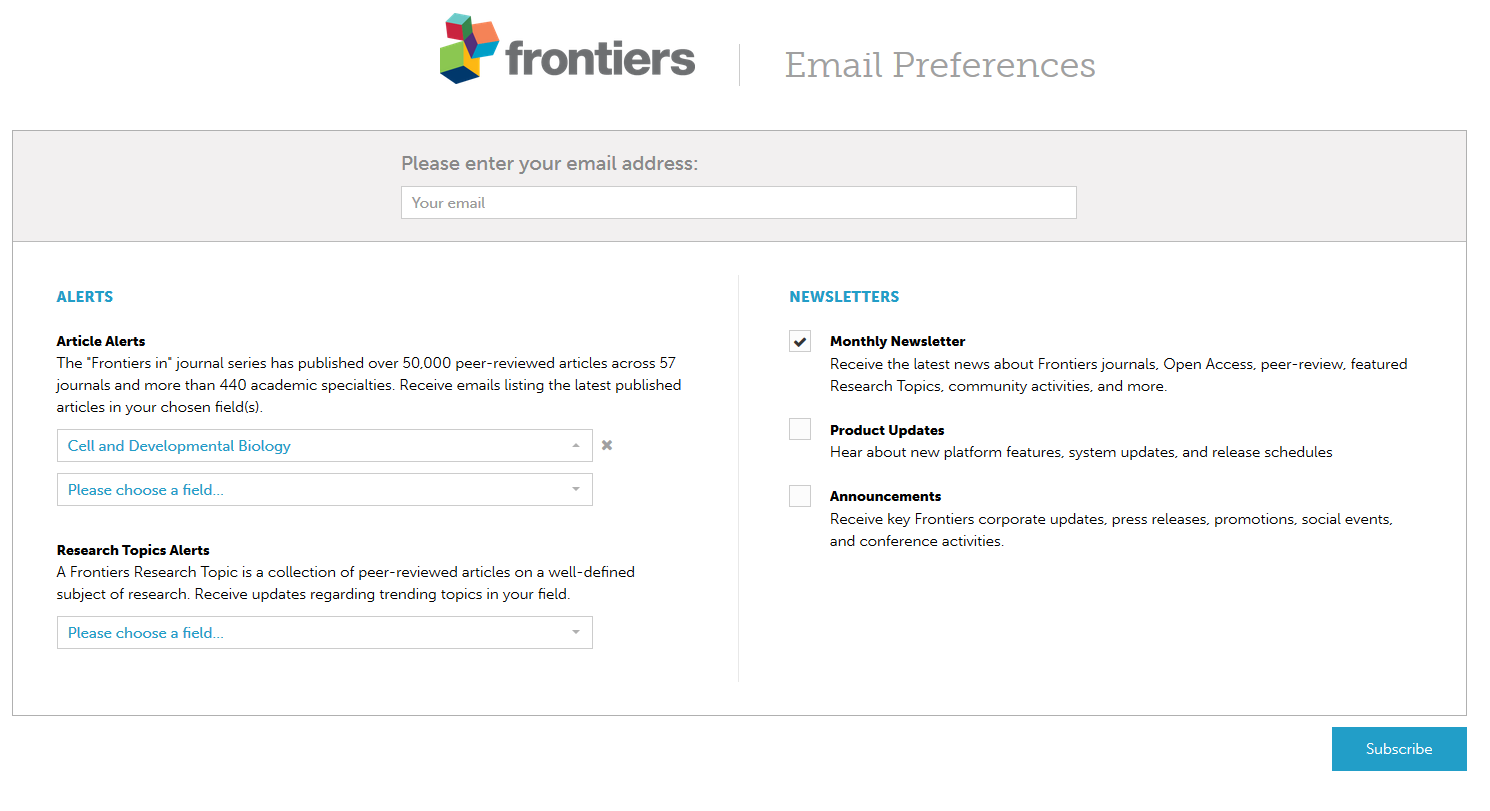 How can I subscribe to a journal's newsletter – Frontiers